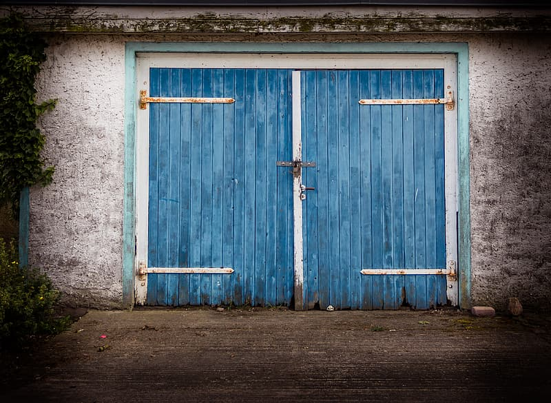 Blue wooden doors