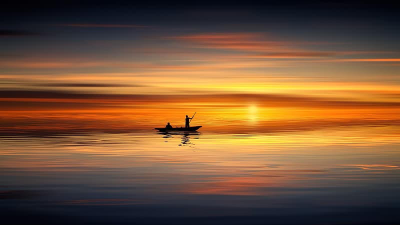 Silhouette of man riding boat on sea during sunset