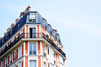 Architectural photography of white and red painted building