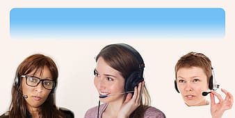 Three women the black and gray headsets