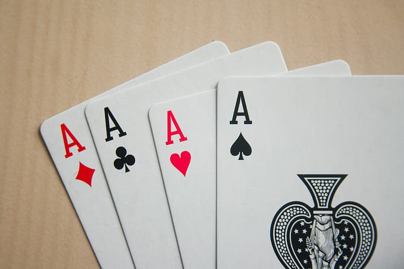 Four A of spade, diamond, heart, and clover playing card