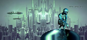 untitled, fantasy, science fiction, float, surreal, city, photo montage, android, forward, futuristic