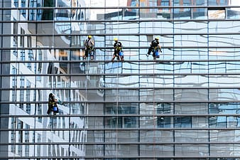 Four people cleaning glass walls
