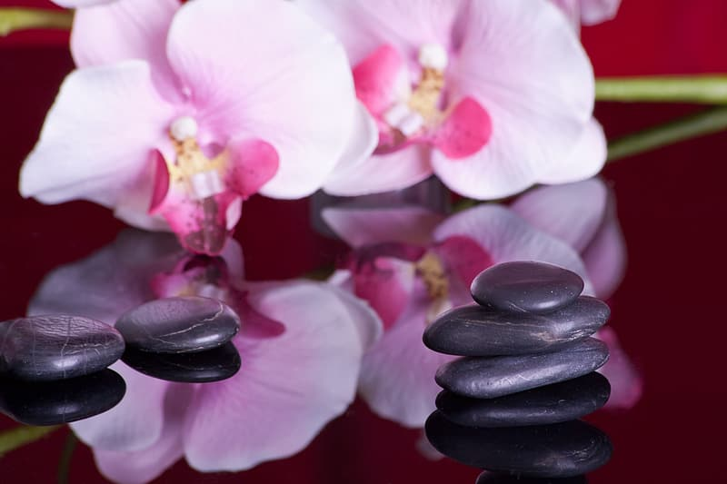 Stack of black pebbles
