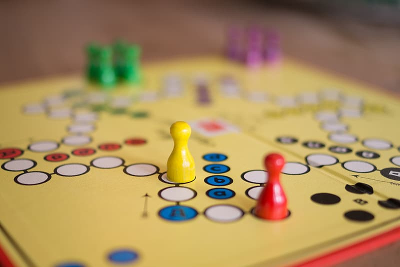 Selective focus photographed of yellow game board