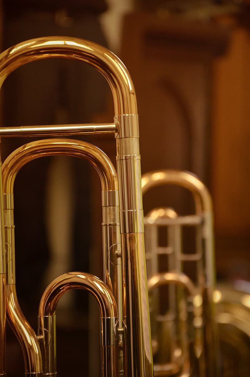 Brass-colored wind instruments