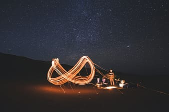 People sitting on the floor with lights