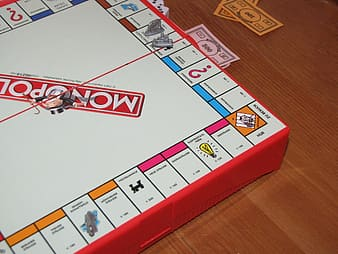 White and red Monopoly board
