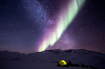 Tents on snow covered terrain with purple aurora