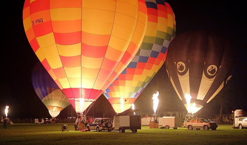 Red yellow and blue hot air balloon