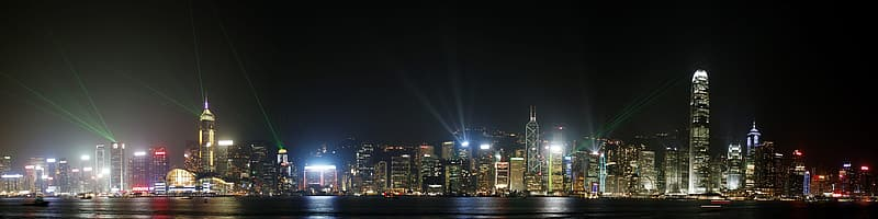 Panoramic view of buildings during nighttime