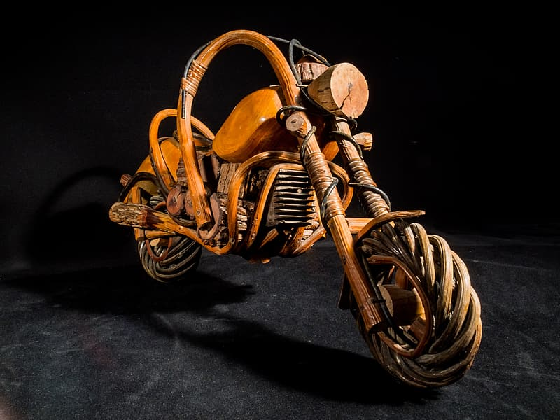 Brown wooden cruiser motorcycle scale model