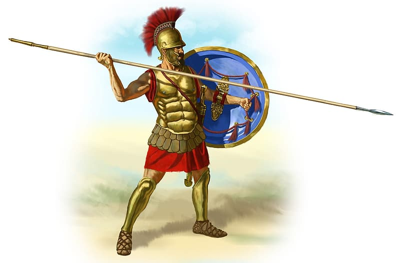 Man with armor holding spear and shield illustration