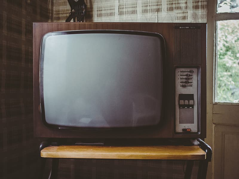 Vintage brown and gray CRT TV