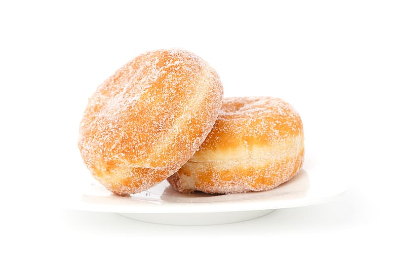 Two doughnuts with sugar in saucer