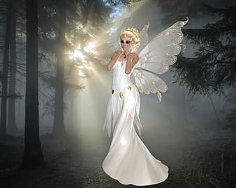 Girl fairy in forest