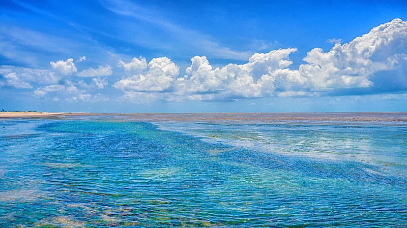 Blue water and white skies
