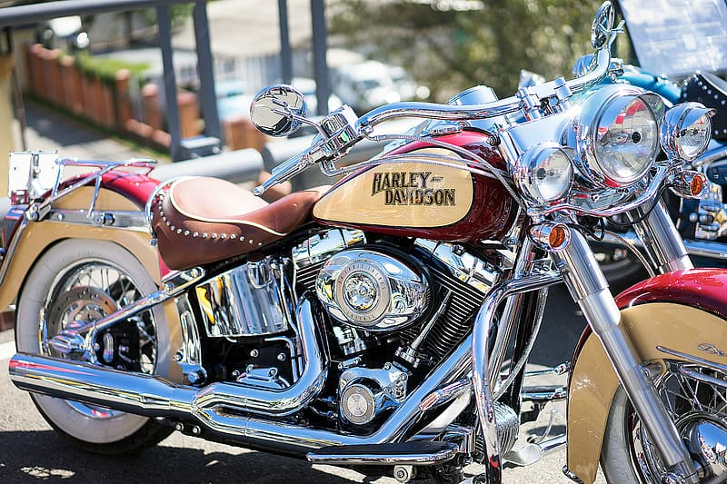 Red and chrome Harley Davidson's motorcycle closeup photography