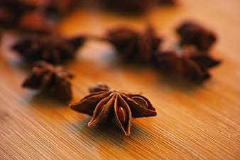 Selective focus photography of star anise