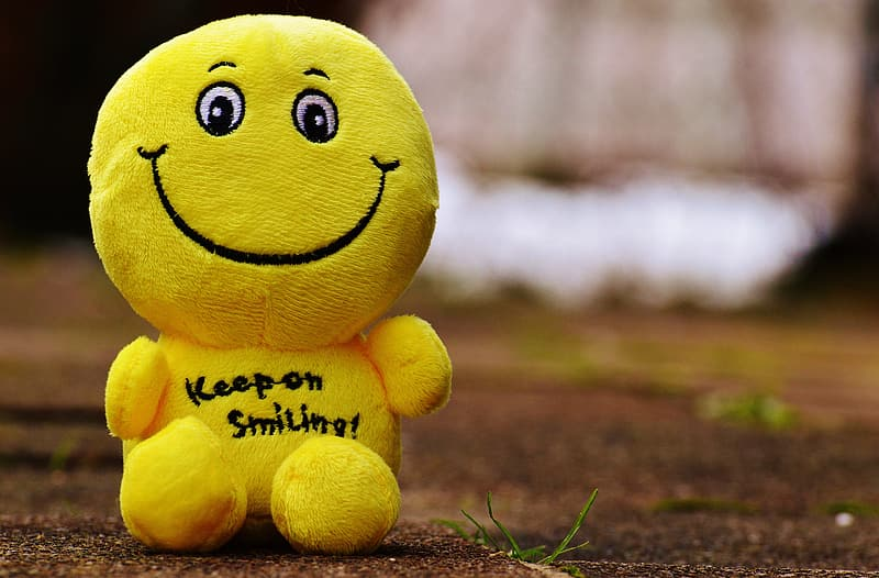 Focus photography of yellow plush toy on soil