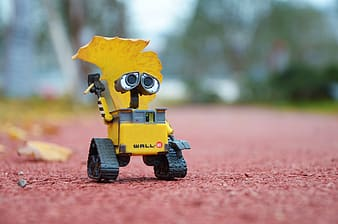 Selective focus photography of Wall E on ground