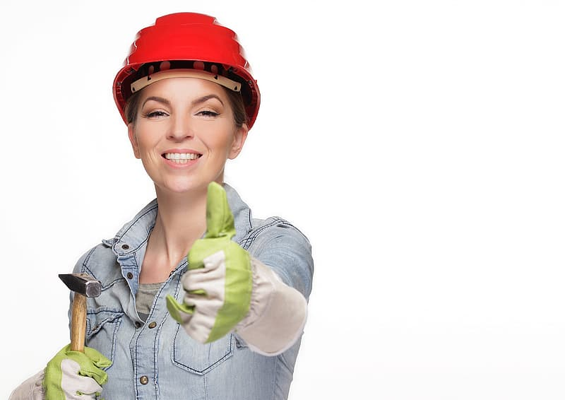 Woman in red hard hat