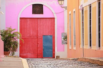 Blue and pink wooden doors