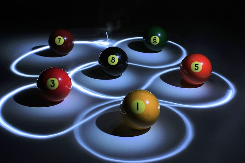 Photo of lighted pool balls
