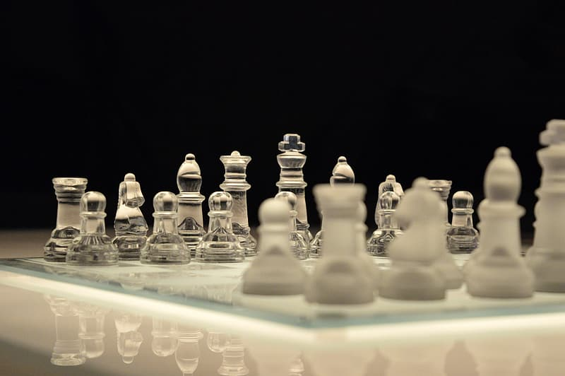 Clear glass chess board and piece