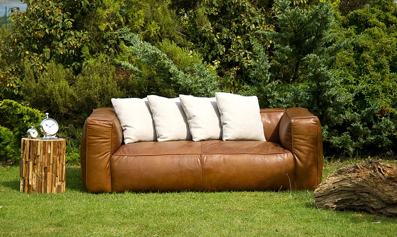 Brown Leather Couch With Four White