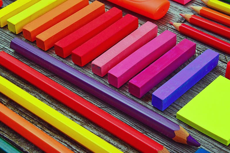 Red blue yellow and pink coloring pencils
