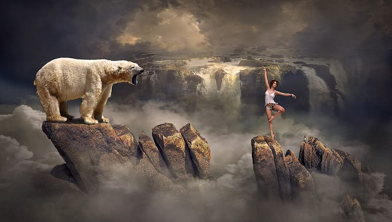 White bear on rock formation and woman standing