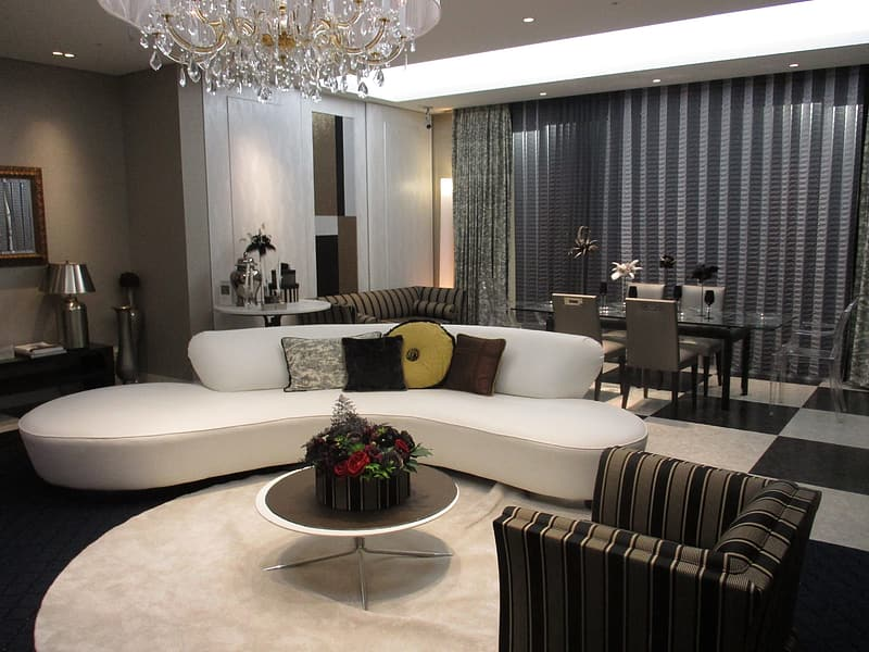 White and gray sectional couch