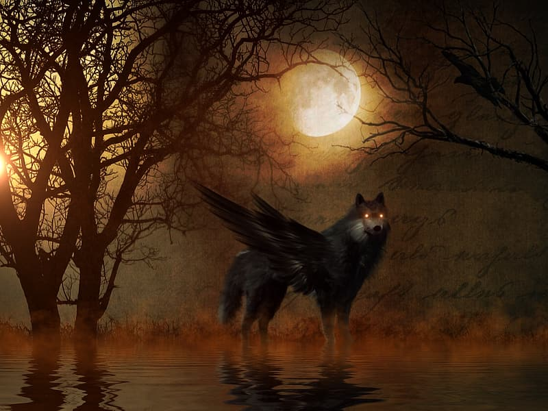 Winged wolf in calm body of water during full moon painting