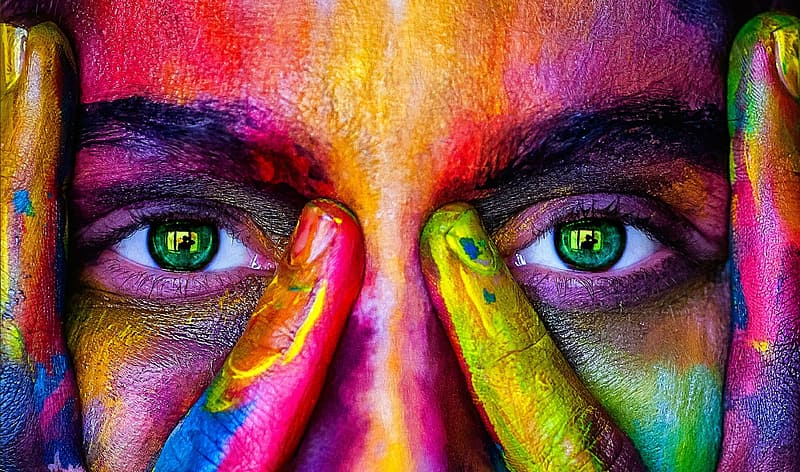 Closeup photo of person with paint