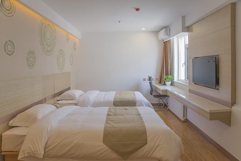 Two white-and-brown bed comforter set inside room