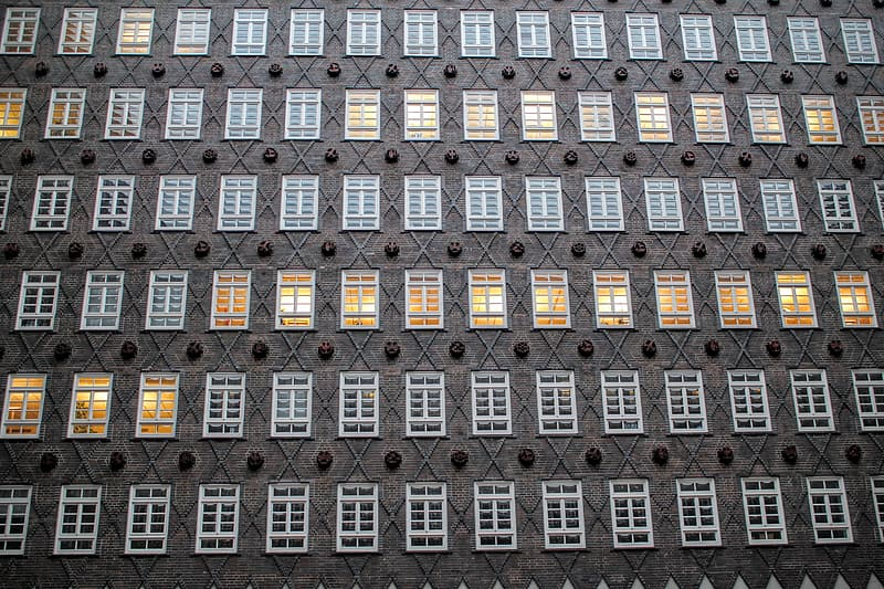Low angle of building windows