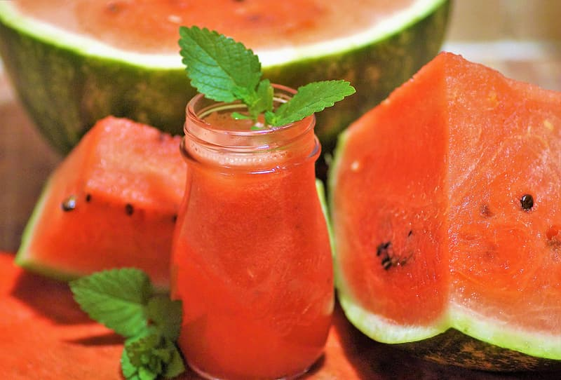 Watermelon juice on jar