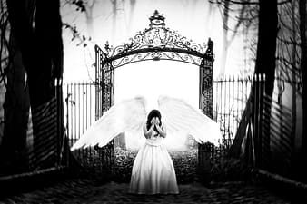 Grayscale photo of woman wearing dress with wings standing in front of floral gate