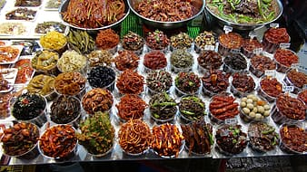 Assorted cooked food on display counter