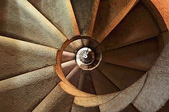 Photo of brown spiral stair