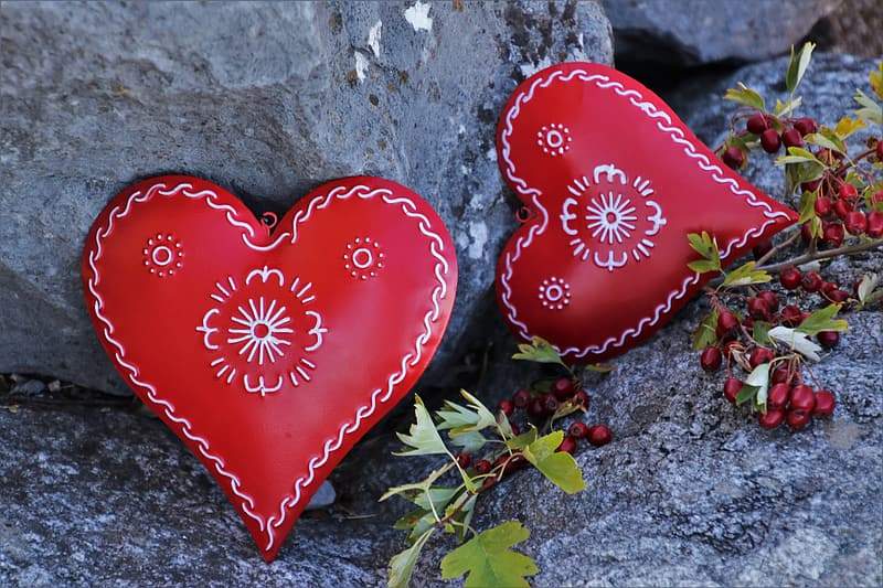 Red and white heart shaped ornament