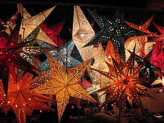Stars hanging on ceiling