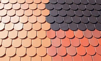 Orange, red, and black roof shingles