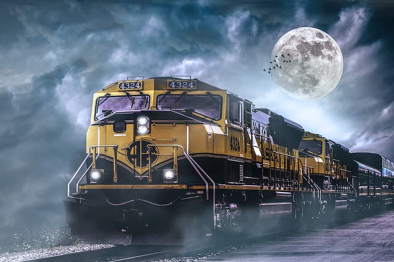 Yellow and black train on water under full moon