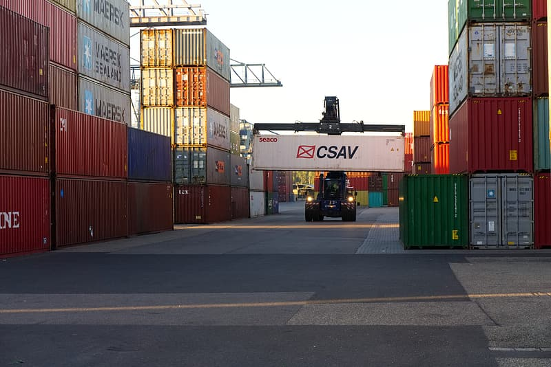 Red and white cargo containers