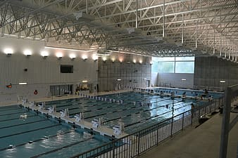 Indoor swimming inside building
