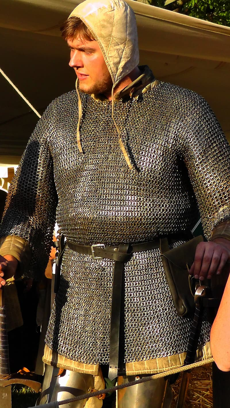 Man wearing chainmail armor