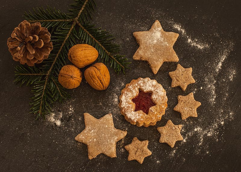 Photo of cookies, walnut, and pine cone