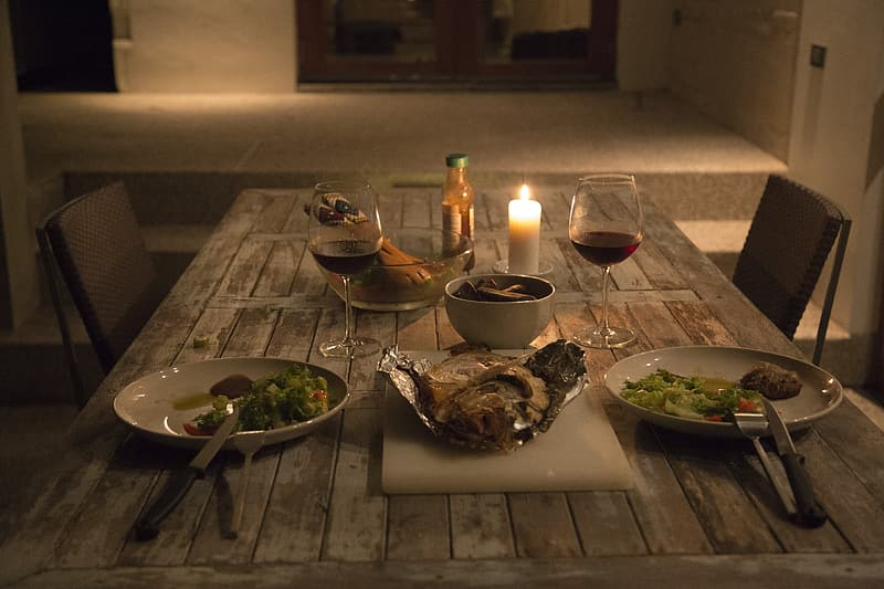 Dinner for two on table